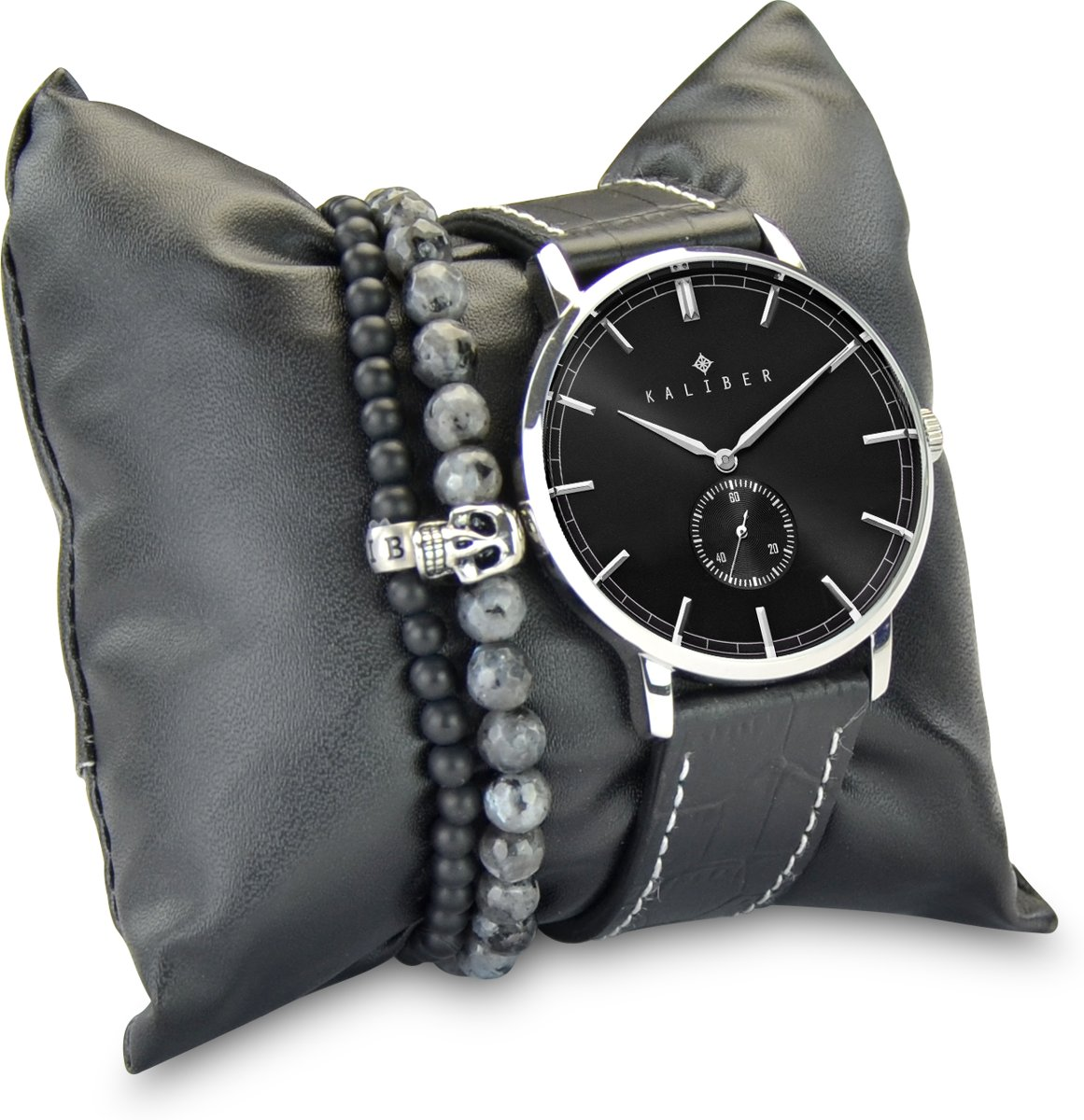Kaliber 7KA SET012 Horloge Set met Armbanden - Leren Band - Ø 40 mm - Zwart / Zilverkleurig kopen