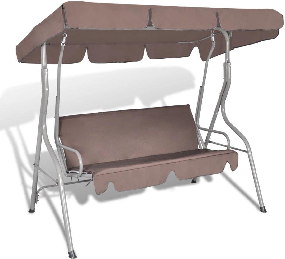 vidaXL Hang schommelstoel met luifel voor buiten (koffie kleur) 3 personen kopen