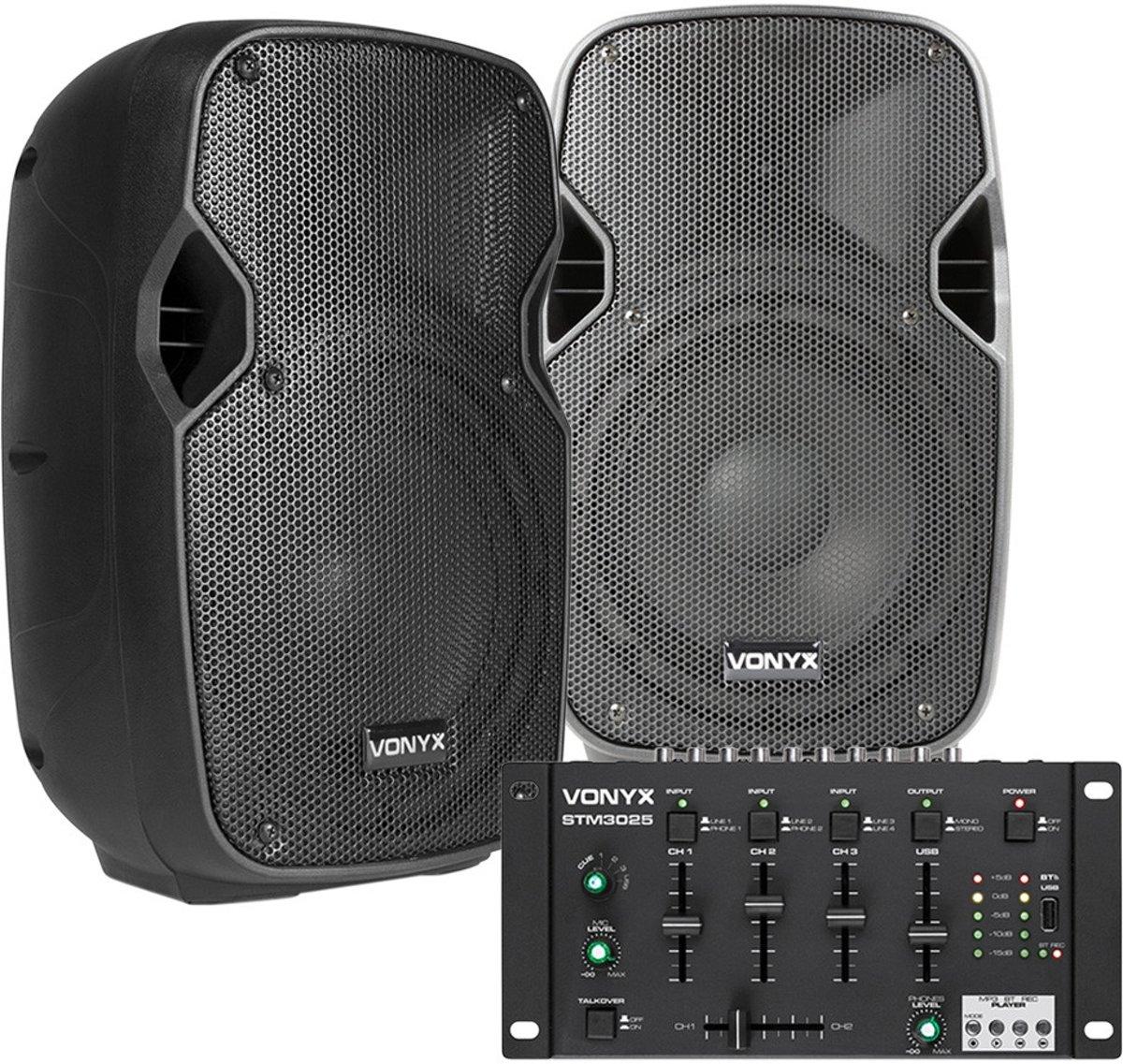 """Bluetooth DJ Set - Vonyx 400W DJ set met Bluetooth & USB mixer en twee 8"""" speakers kopen"""