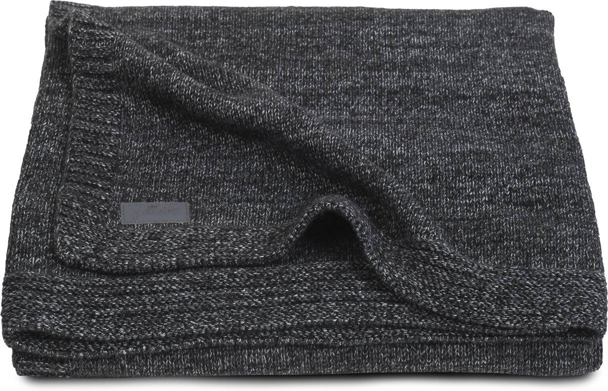 Deken 100x150cm Natural knit anthracite