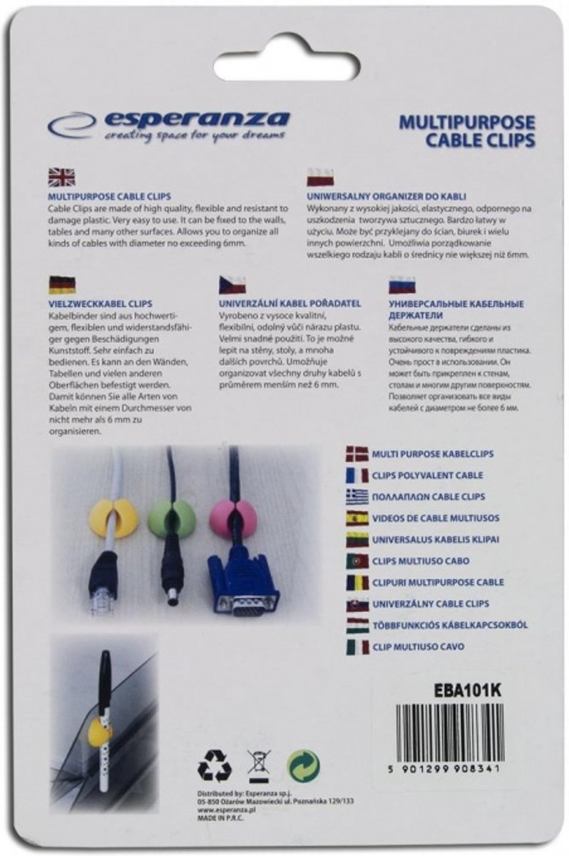 bol.com | Esperanza Multifunctionele Kabel Klemmen 6 stuks - Zwart
