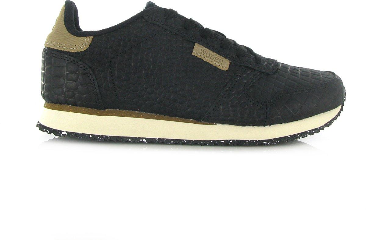 Woden Ydun croco dames sneaker zwart