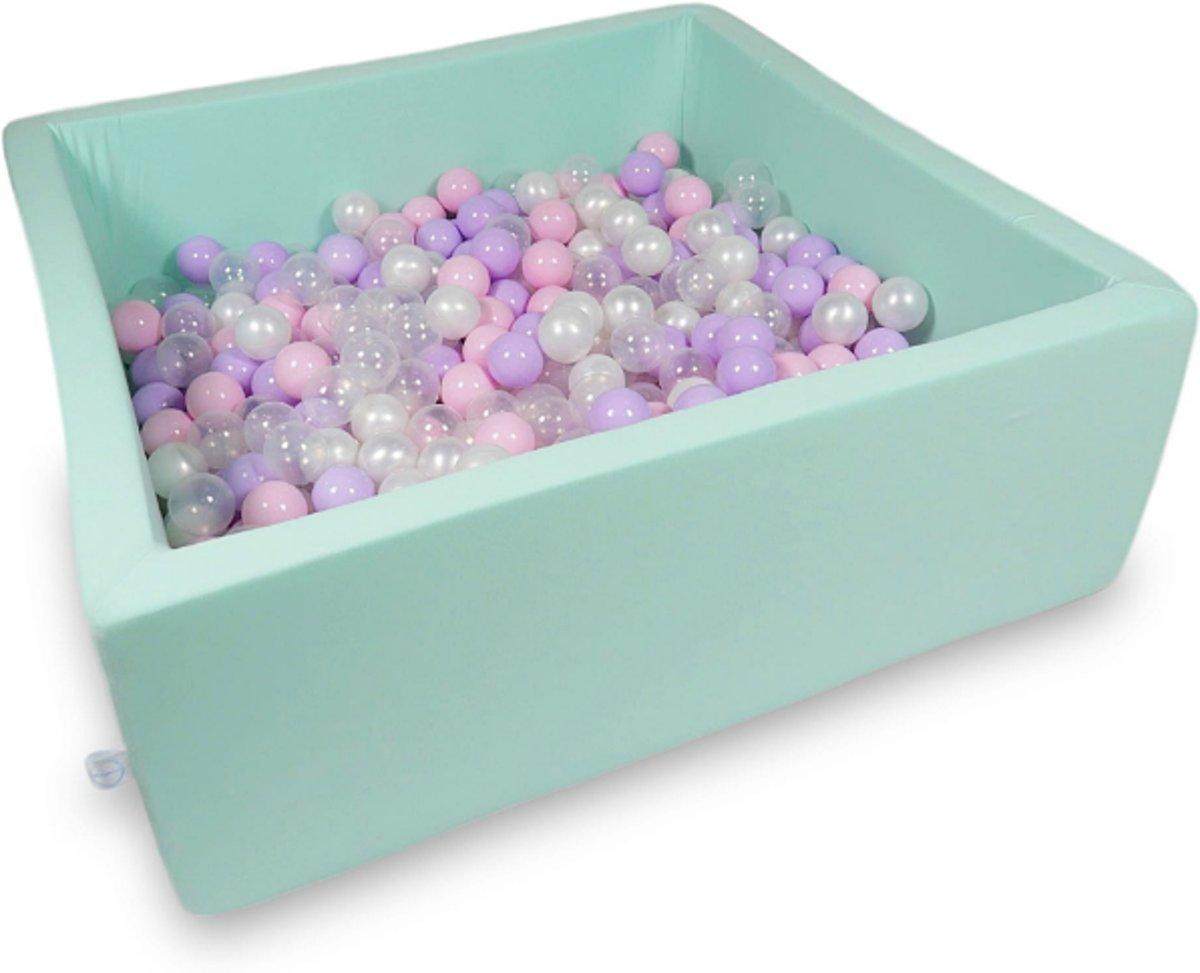 Ballenbak - 600 ballen - 110 x 110 cm - ballenbad - vierkant groen