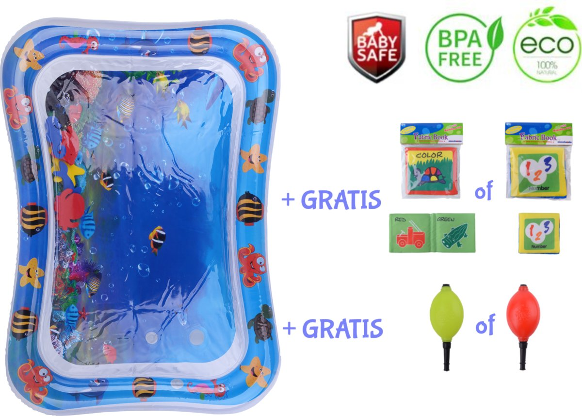 Baby Opblaasbare Watermat + GRATIS Luchtpomp + GRATIS Baby Bath Book - Speelmat Baby - Speekleed Baby - Water speelgoed - Waterspeelgoed - Waterspeelmat - Babyshower - Watertafel - Babygym - Badspeelgoed - Kraamcadeau - Ontwikkeling Baby - Motoriek