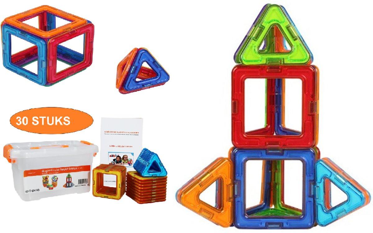Magnetische Bouwblokken In Doos 30-Set    Mijn Eerste Constructiespeelgoed   Bouwspeelgoed Vormen Maken   My First Magnetic Buildingblocks   Bouwstenen Magneten Bouwset   Magnetisch Bouwspeelgoed Voor Kinderen va 18 Maanden, +2 +3 Jaar   Play&Grow kopen