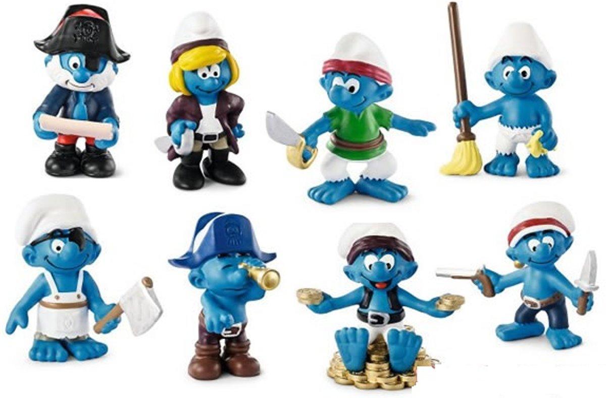 8 Piraten smurfen (Schleich +/- 6 cm)