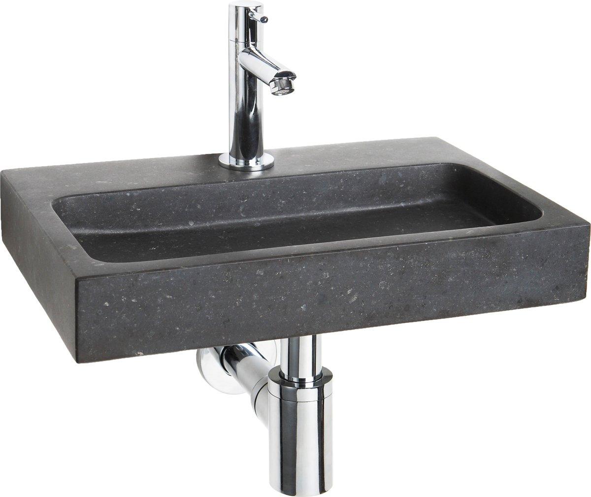 Fonteinset Differnz Flat Rechthoek 38x24x7cm Natuursteen Chroom Toiletkraan Sifon Plug kopen