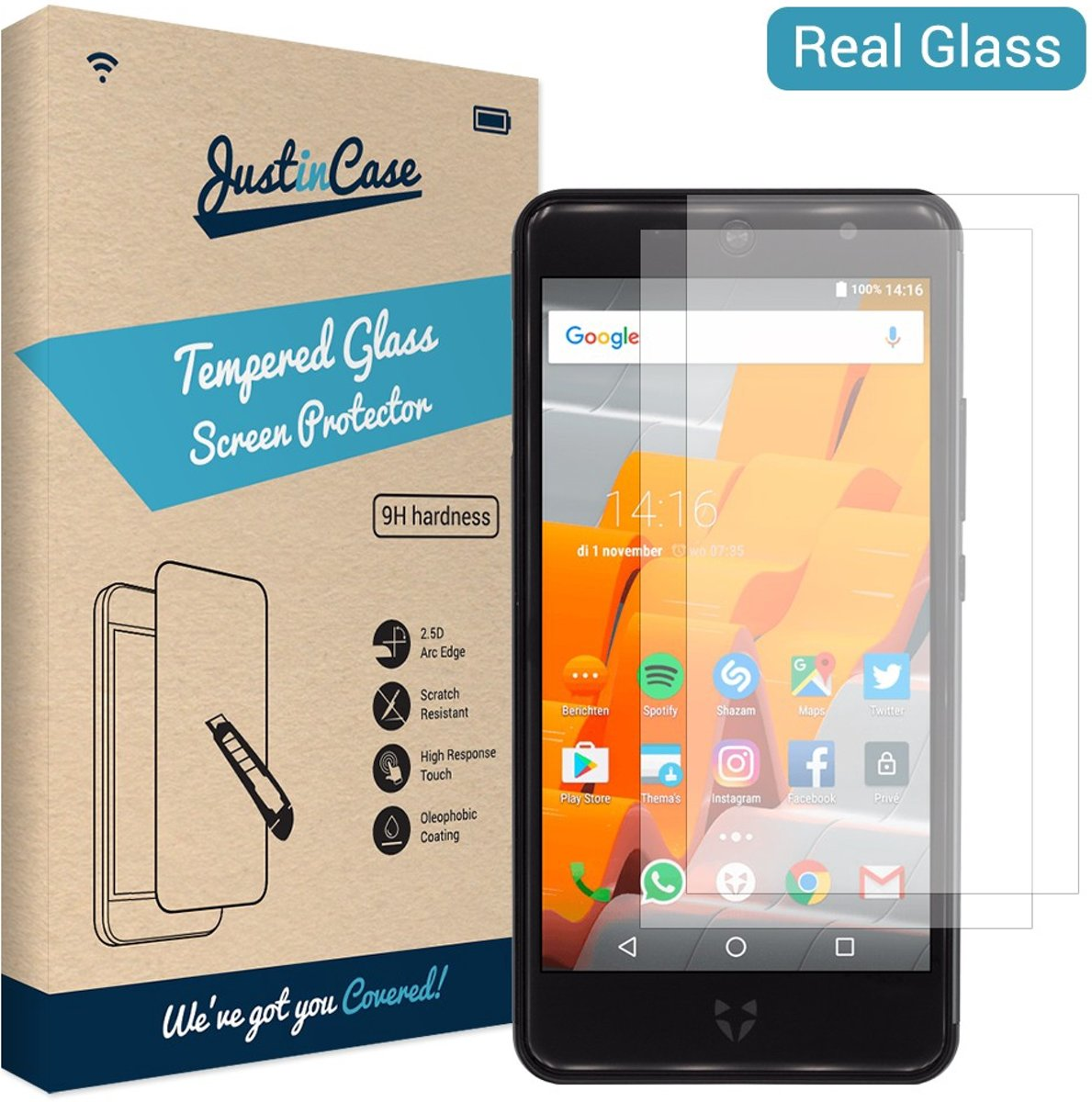 Just in Case Tempered Glass Wileyfox Swift 2 / Swift 2 Plus - 2 pack kopen