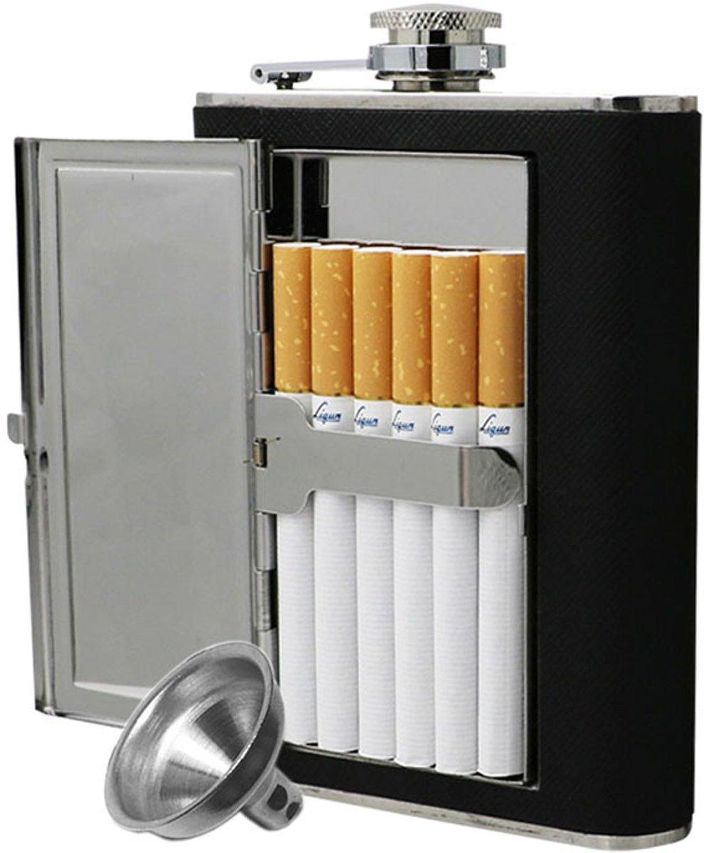 RVS Heupfles Sigarettenhouder - Platvink - Zakflacon - Zakfles - Drankfles - Drankflacon - Heupflesje - 6 Oz - 180 ML + Gratis inschenkdop! kopen