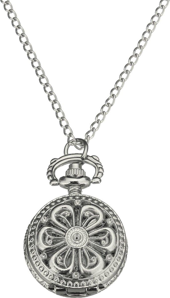 Treasure Trove® Ketting Horloge Opengewerkte Bloem Vrouwen - Dameshorloge - Zilverkleurig - 80cm kopen