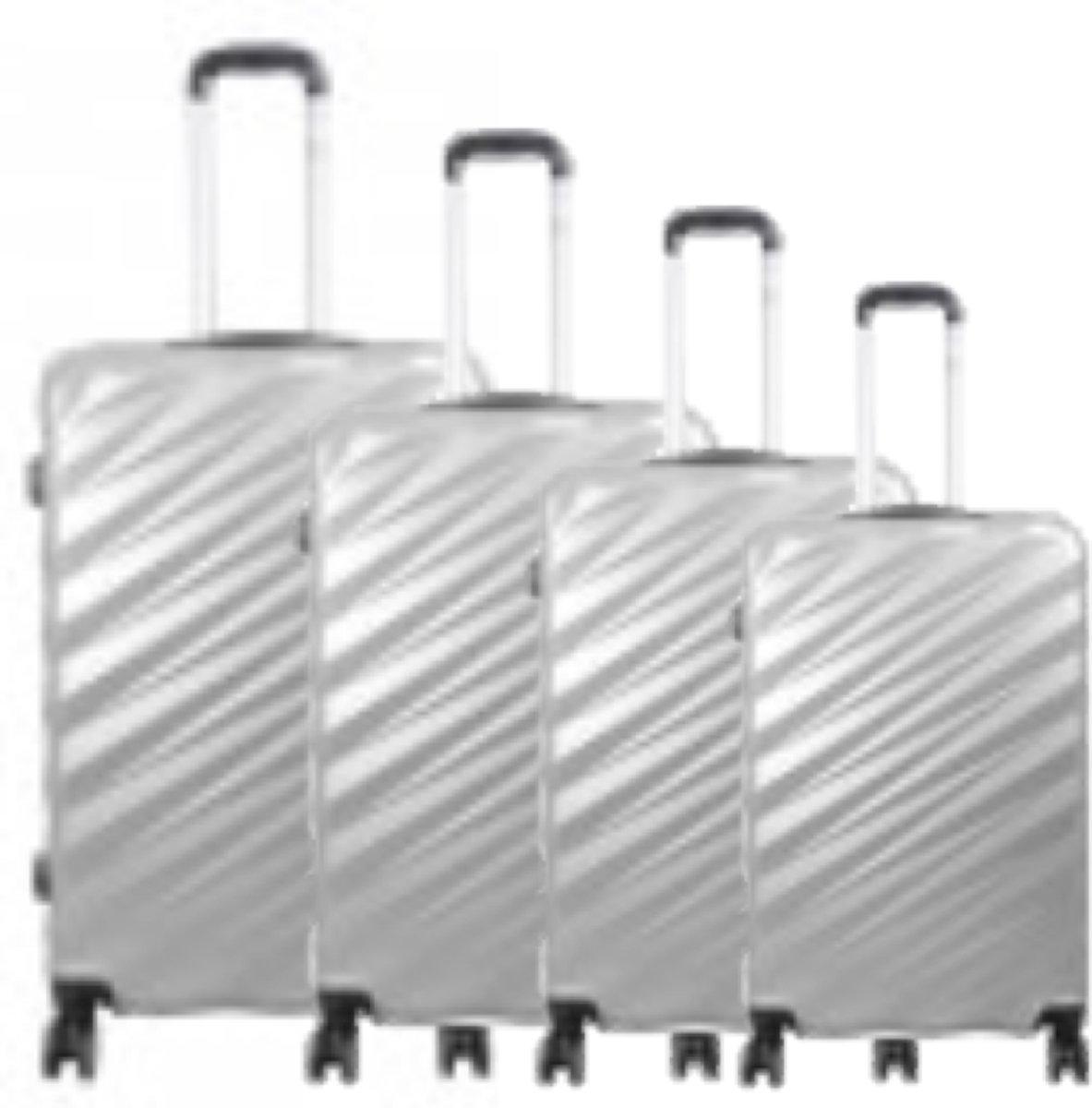 4 delig koffer set travelsuitcase Polycarbonate Pisa zilver kopen