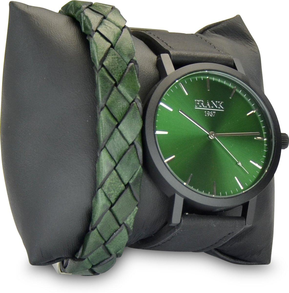 Frank 1967 7FR SET023 Horloge Set met Armband - Leren Band - Ø 42 mm - Groen / Zwart / Zilverkleurig kopen