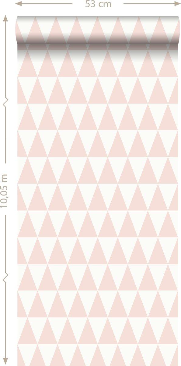 10de797bbc7944 bol.com   krijtverf eco texture vliesbehang grafisch geometrische driehoek perzik  roze - 148670.