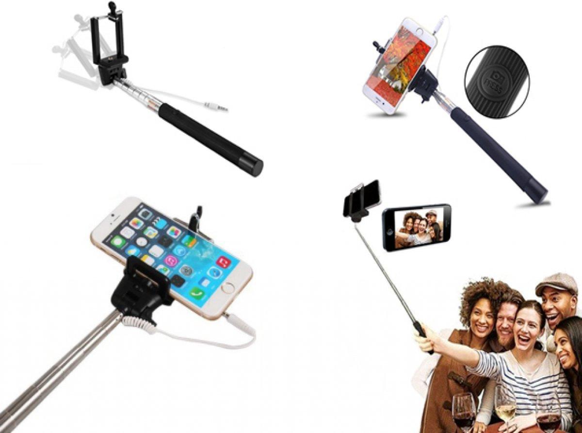 compacte selfie stick wiko iggy met knop in handvat bekabeld geen bluetooth nodig zwart merk. Black Bedroom Furniture Sets. Home Design Ideas