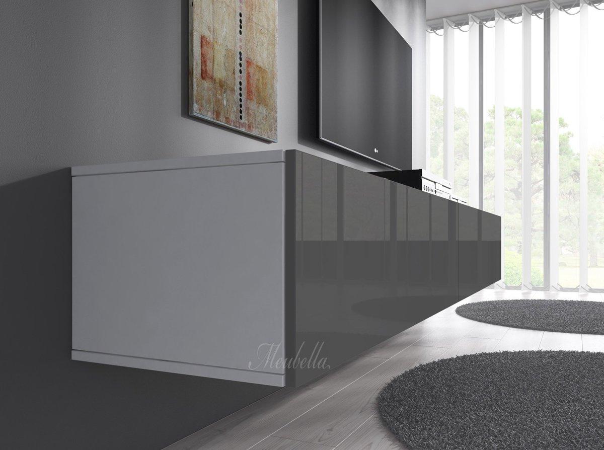 Hoogglans Meubels Beschadigd : Bol.com meubella tv meubel flame grijs wit 200 cm