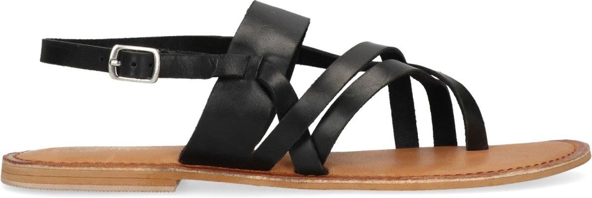 Sacha - Dames - Zwarte sandalen met gespsluiting - Maat 39