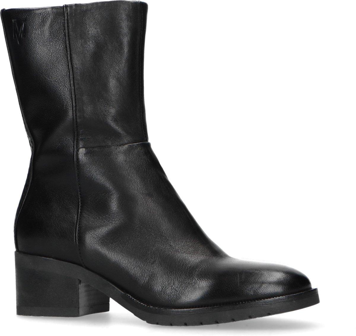 Manfield Dames Zwarte korte laarzen met lage hak Maat 38