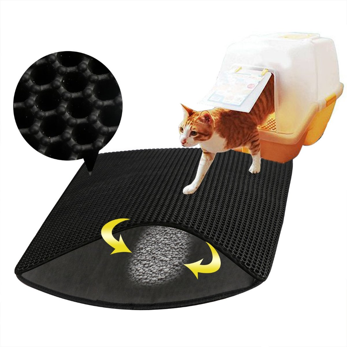 Kattenbakmat - Kattengritopvanger - 40 x 50 cm - Zwart kopen