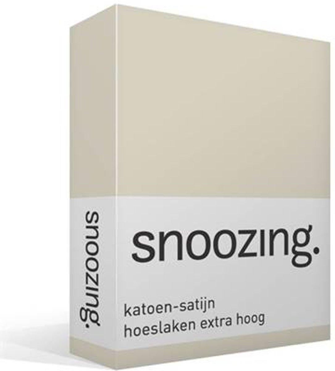 Snoozing - Katoen-satijn - Hoeslaken - Extra Hoog - Eenpersoons - 80x220 cm - Ivoor kopen