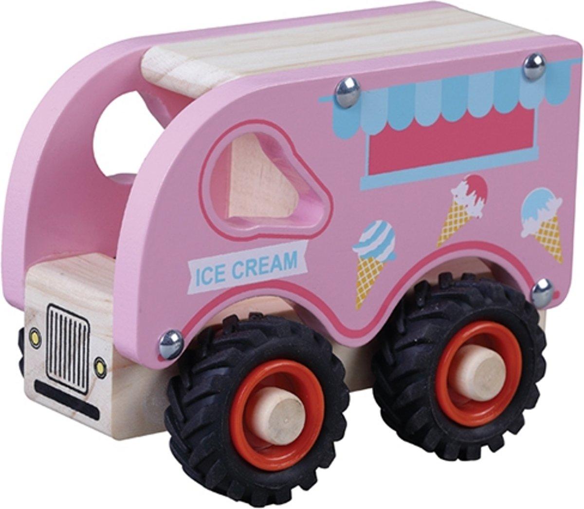 Houten ijscokar ijsjes wagen auto hout roze