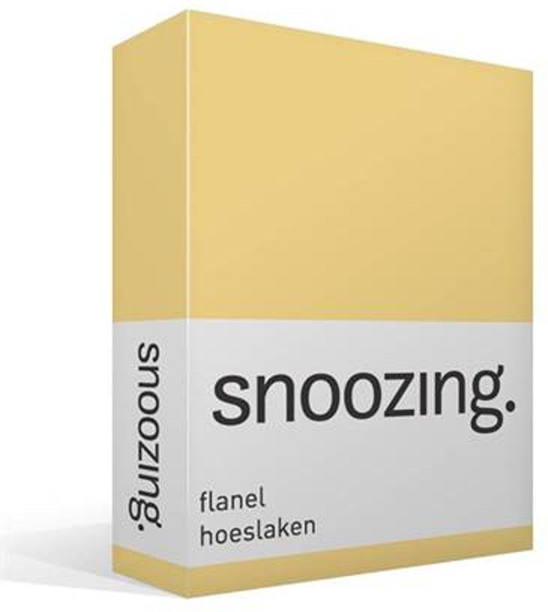 Snoozing - Flanel - Hoeslaken - Eenpersoons - 80/90x200 cm - Geel kopen