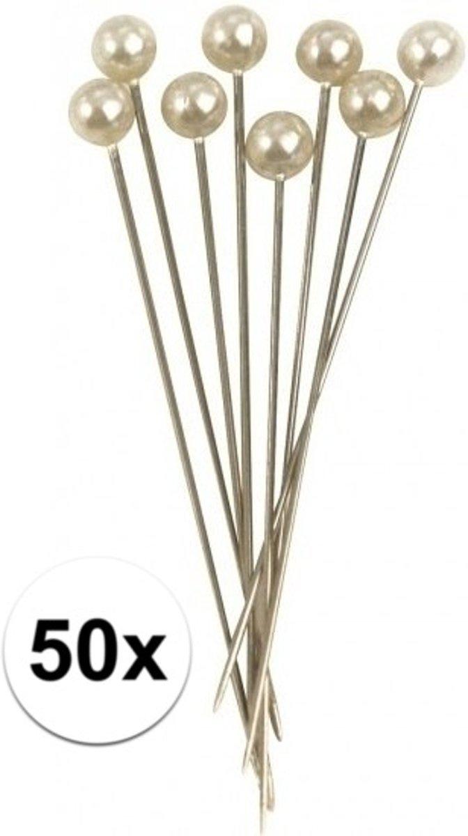 50x Spelden met parel kop wit 6,4 cm kopen