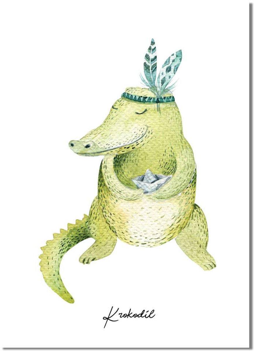DesignClaud Krokodil - Kinderkamer poster - Babykamer poster - Decoratie - Waterverf stijl dieren kids kopen