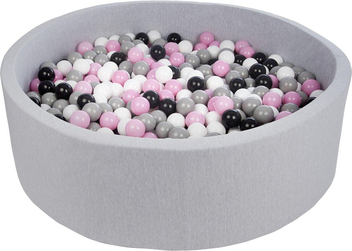Zachte Jersey baby kinderen Ballenbak met 900 ballen, diameter 125 cm - zwart, wit, lichtroze, grijs