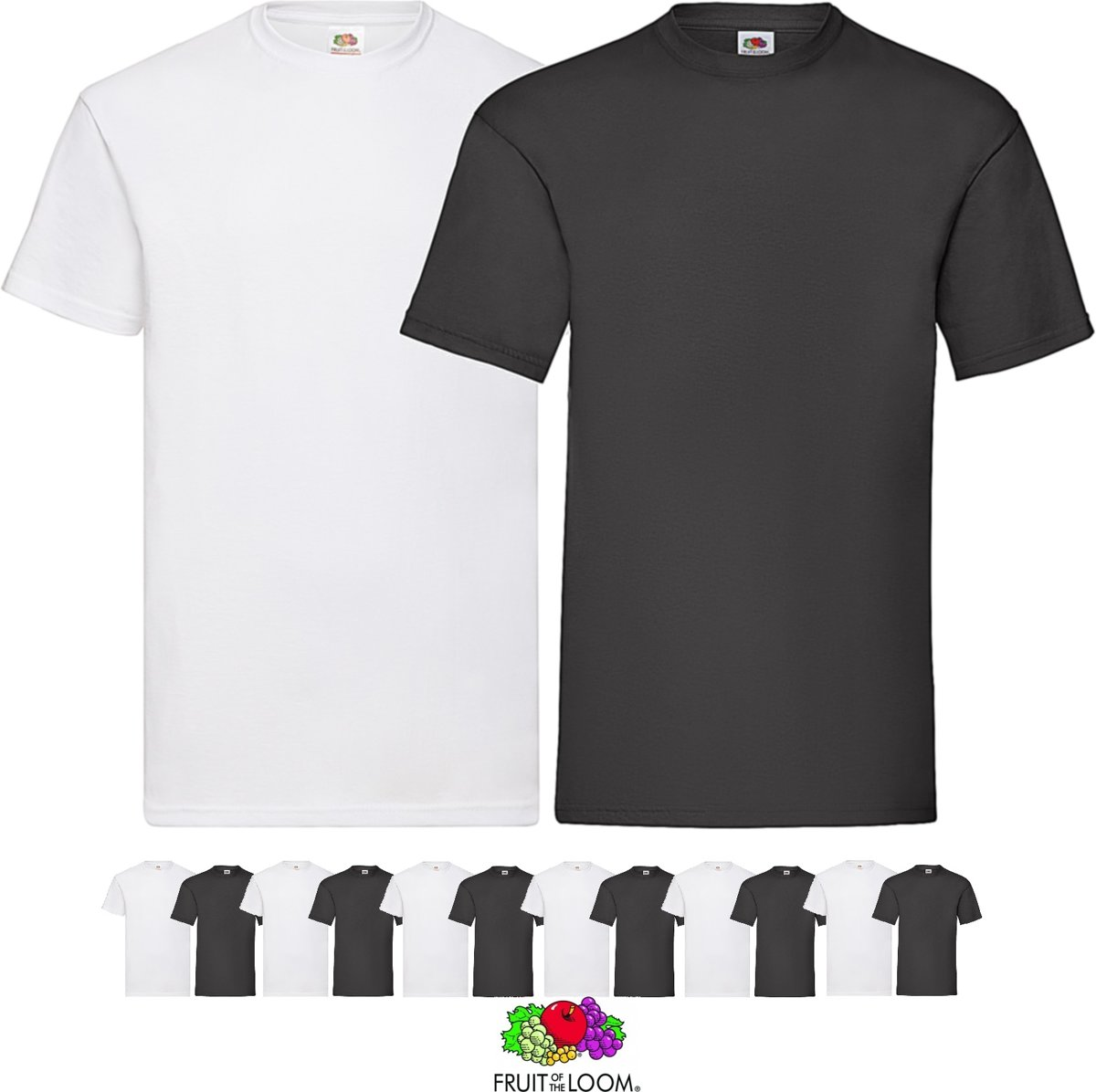 12 pack Zwarte shirts Fruit of the Loom ronde hals maat S Valueweight