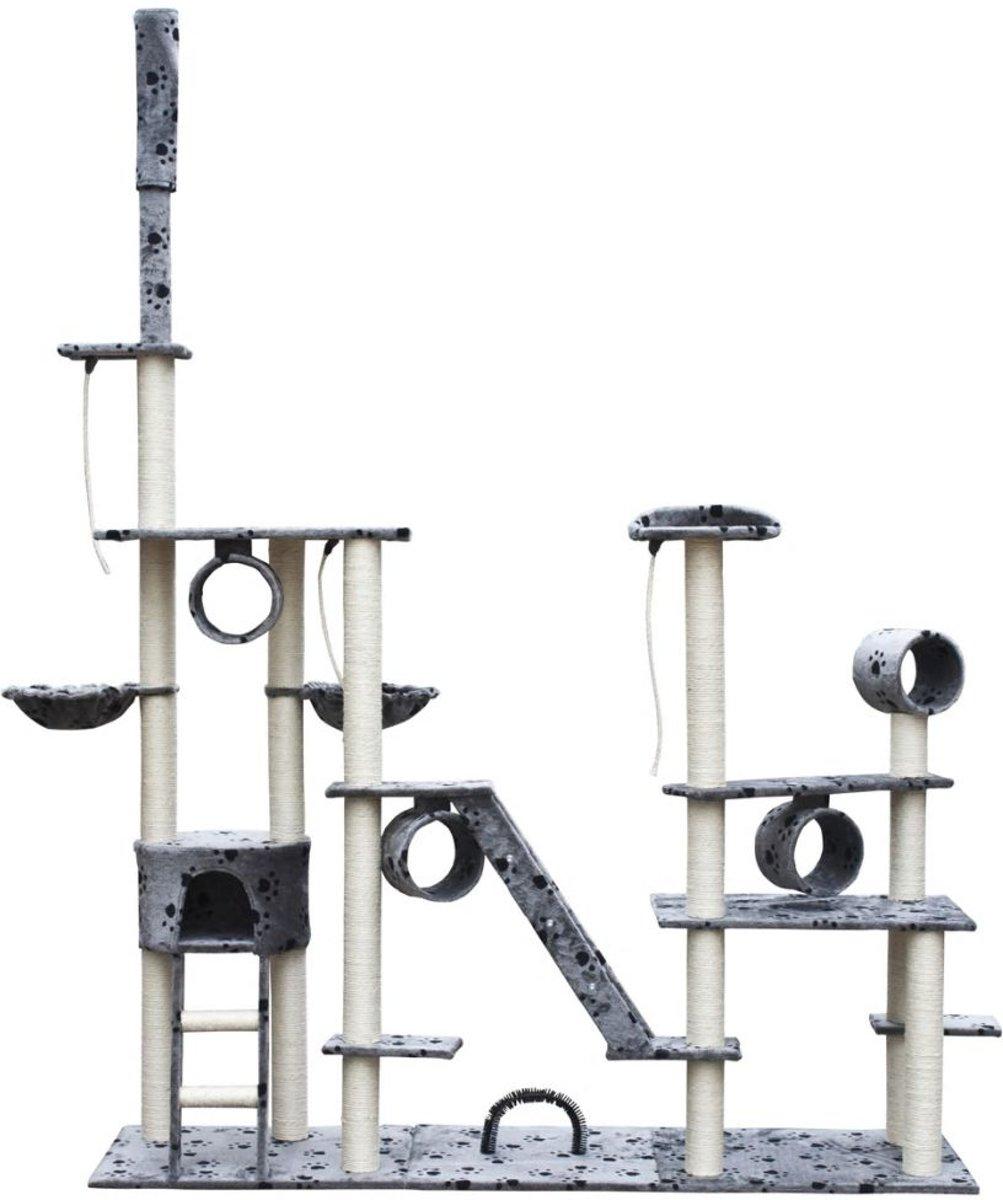 Krabpaal Saartje 230/260 cm 1 huisje - Grijs met pootafdrukken