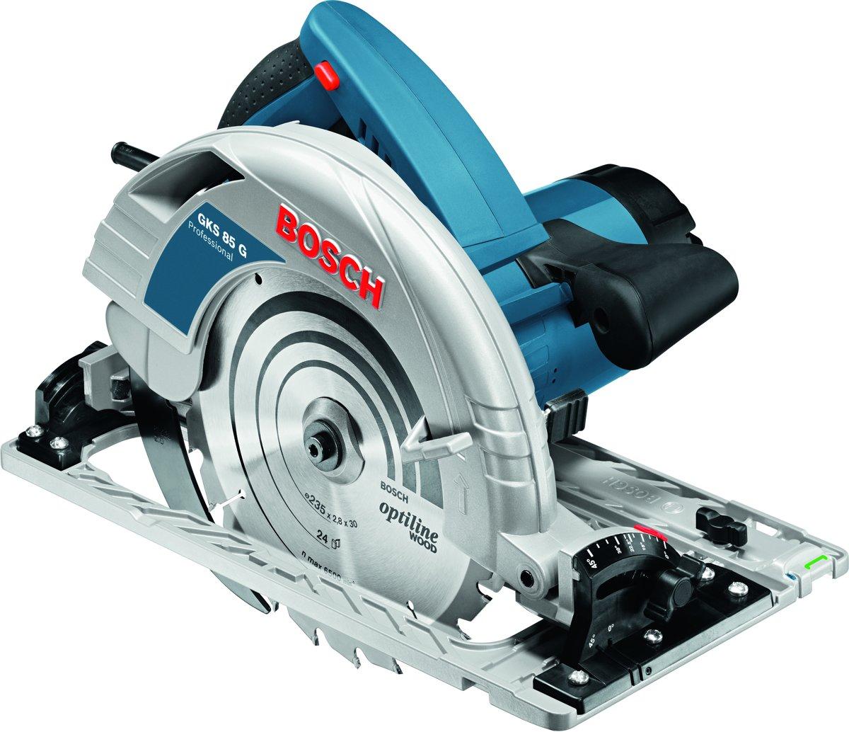 Bosch Professional GKS 85 G Cirkelzaag - 2200 Watt - 85 mm zaagdiepte - Inclusief zaagblad, FSN 1600 Geleiderail en L-BOXX