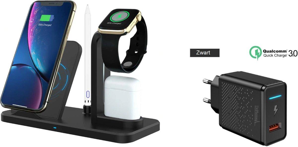 DrPhone ALLIN1 - Oplader Qi 3 in 1 Houder Stand Dock Voor Apple Watch 5 Horloge Serie 5 4 3 2 Iphone 11 Pro max XS MAX XR Iwatch Airpods 1 2 kopen