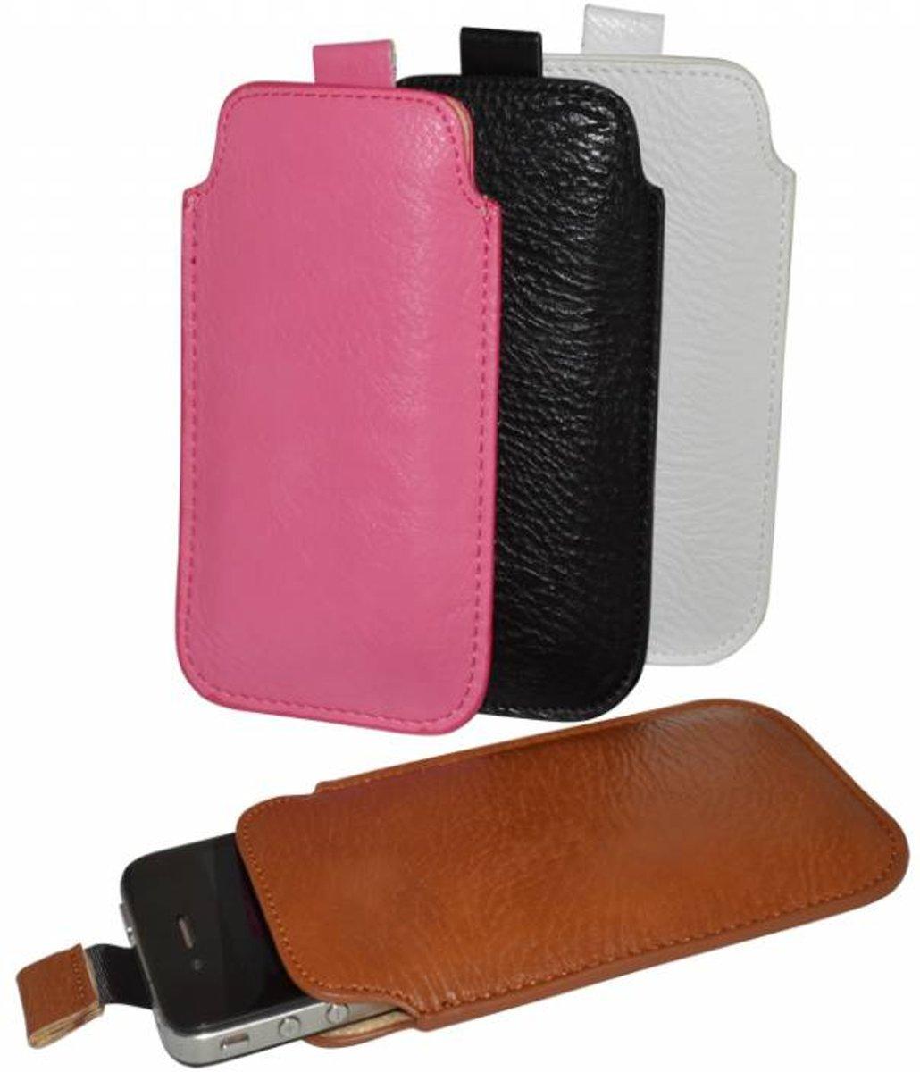 Universeel Smartphone Hoesje Bruin Merk I12cover Android Lg L70 D325 Free Flip Windows Case