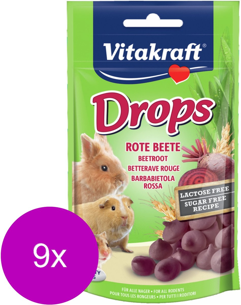 Vitakraft Knaagdier Drops - Knaagdiersnack - 9 x Rode Biet Lactose Vrij