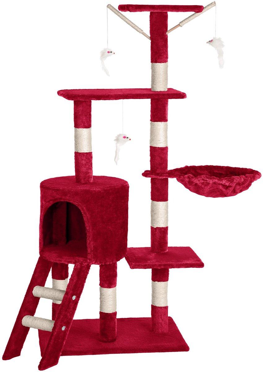TecTake Katten krabpaal – 144 cm - met 3 speelmuizen bordeaux - 401436