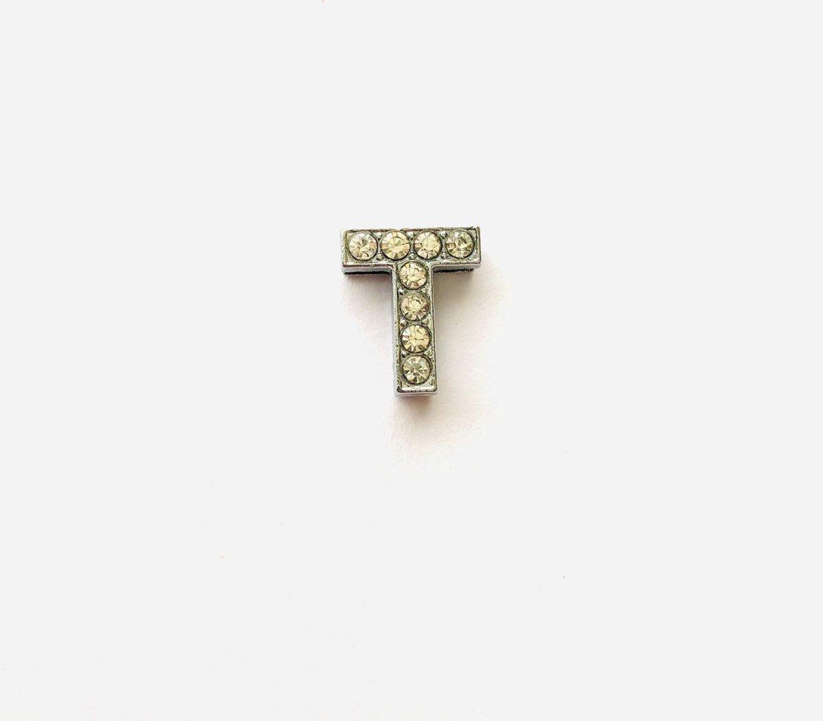 Metalen letter met zirkonia steentjes - Letter T - Personaliseer zelf kopen