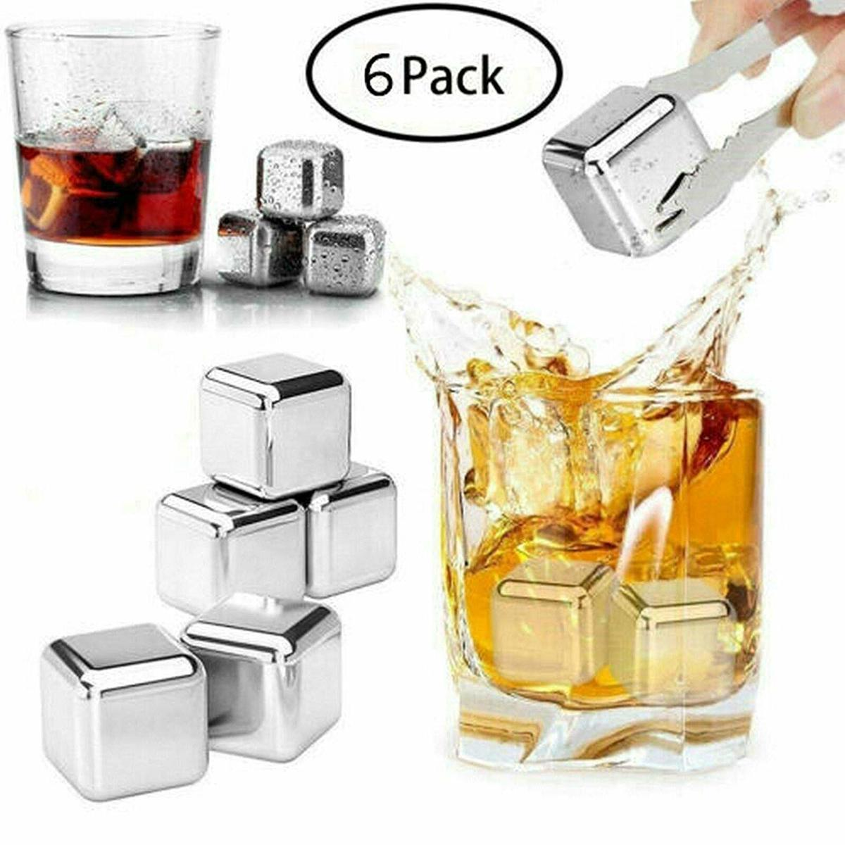Aluminium Whiskey Stenen met Ijsblokjes Tang - 6 Stuks kopen