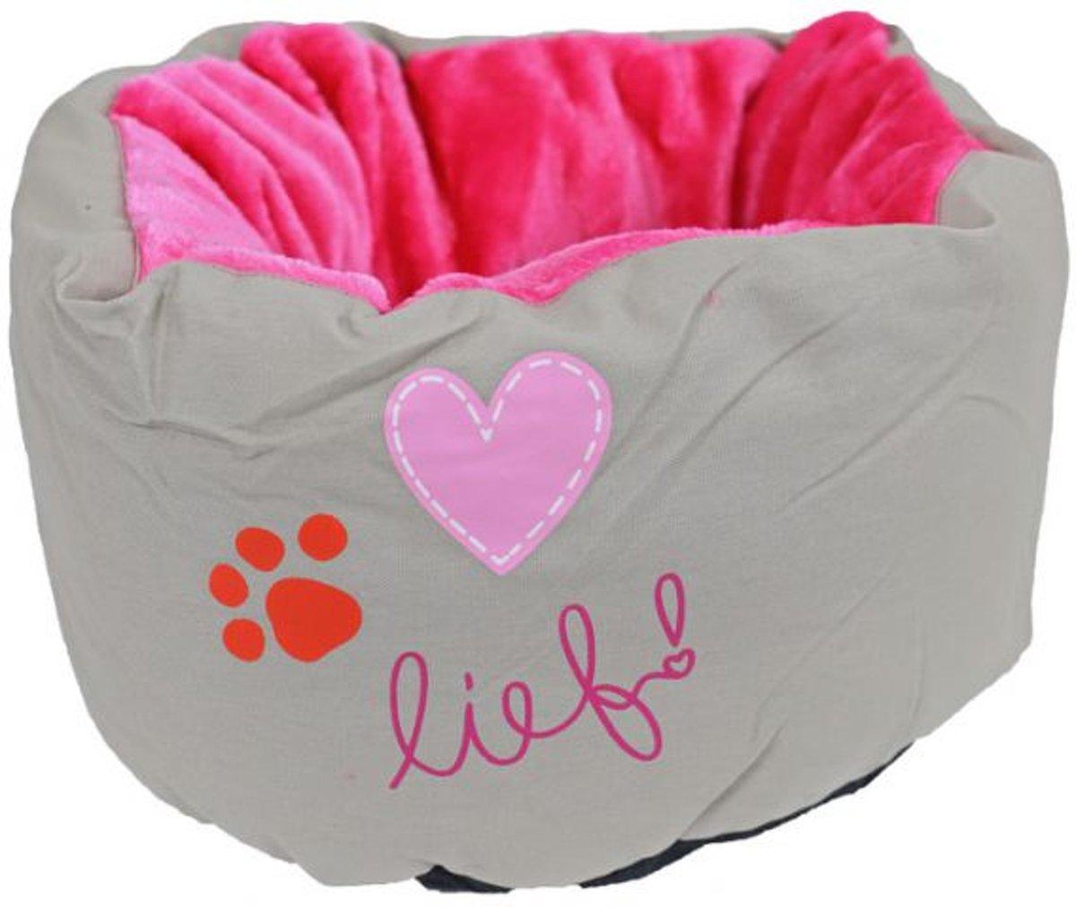 Lief! Poef Girls -Honden- of Kattenmand - Beige/Roze - 45 cm