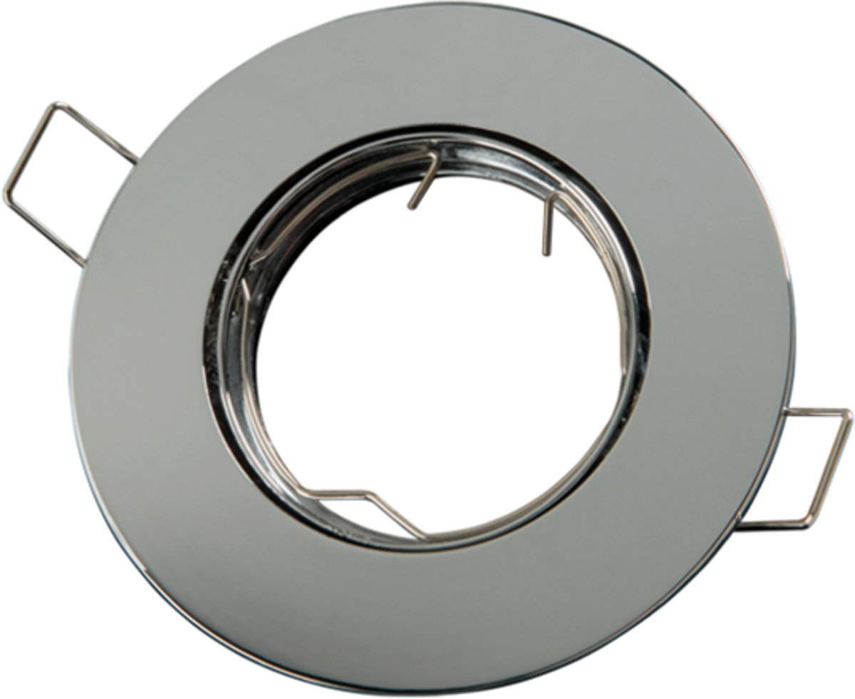 LED line Inbouwspot - Rond - RVS Look - GU5.3 Fitting - Ø 92 mm - Satijn