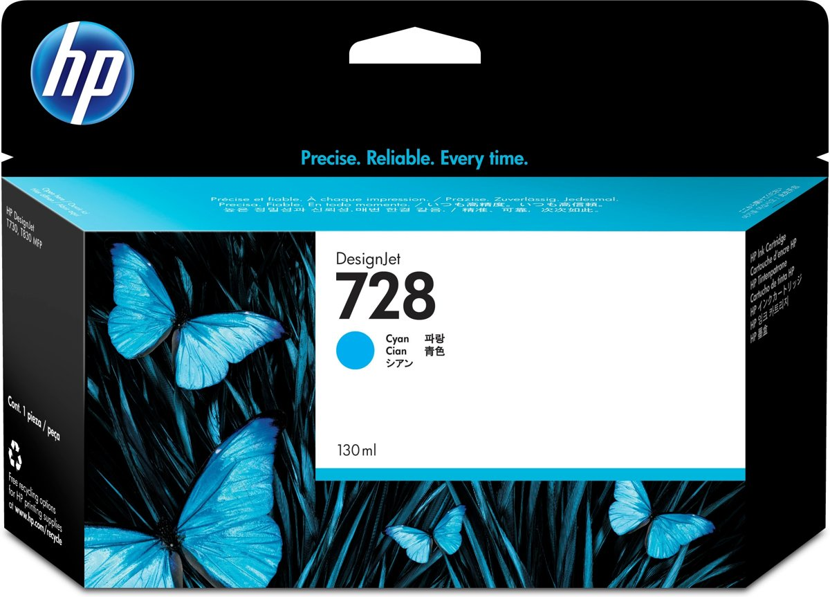 HP 728 130-ml Cyan Inkt Cartridge