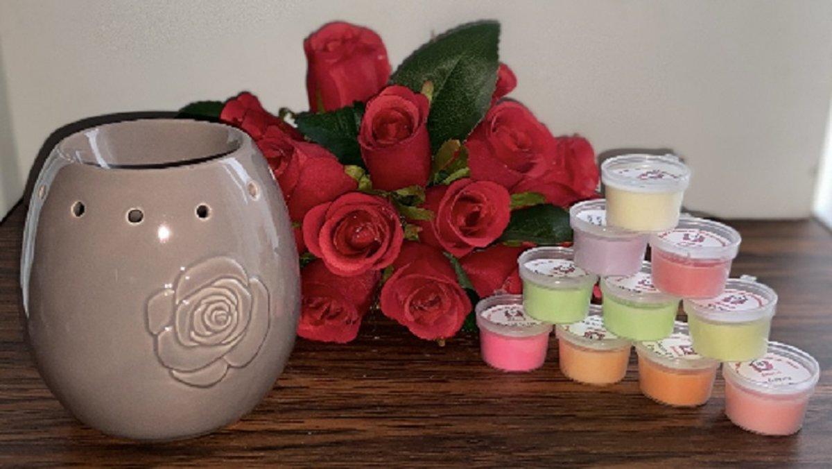 Wax Melts (parfum)geuren verrassingspakket met 10 geuren incl. DHHM | Geurbrander | Roos | Taupe
