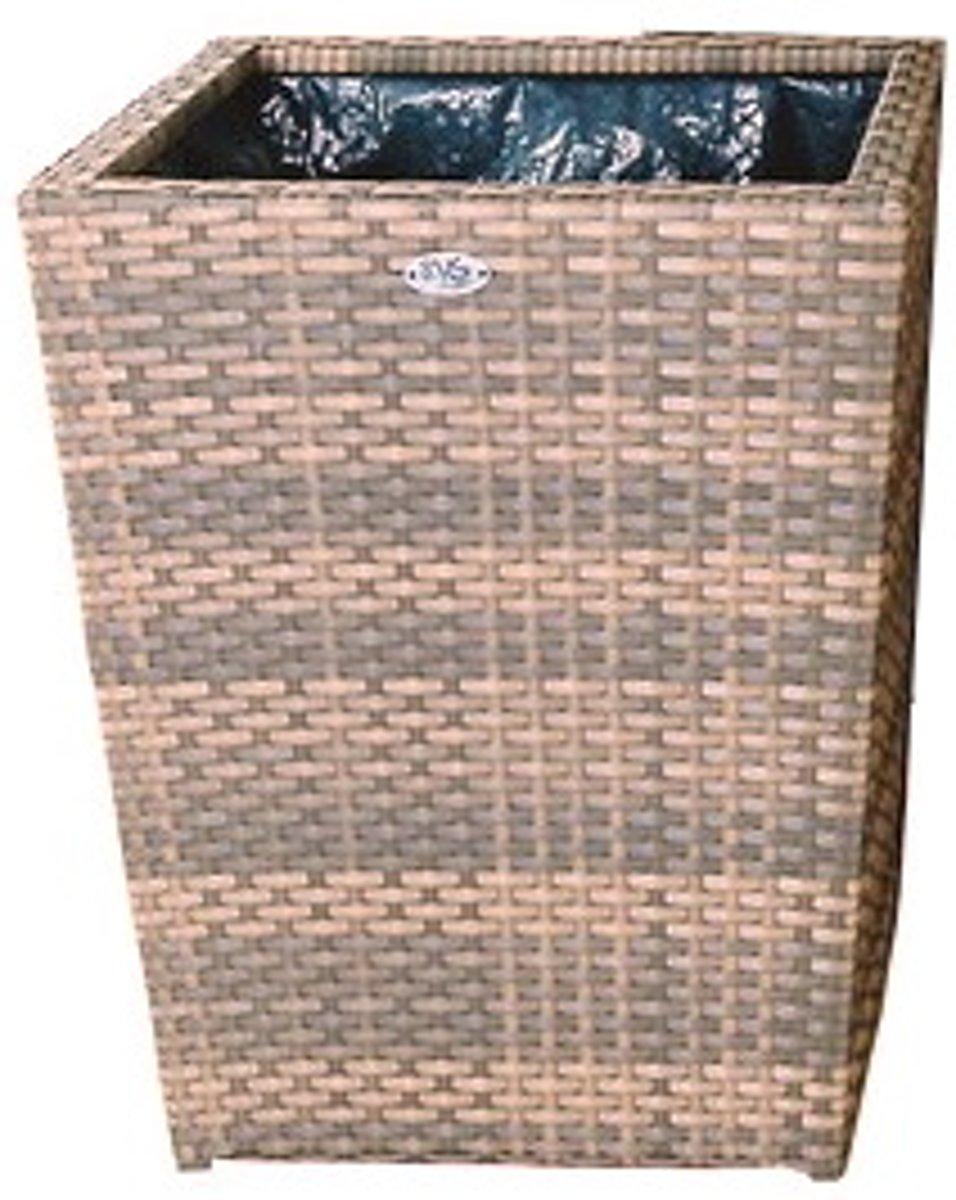 Bloembak Pompei - vierkant taps 65x65x80 cm - cappuccino wicker kopen