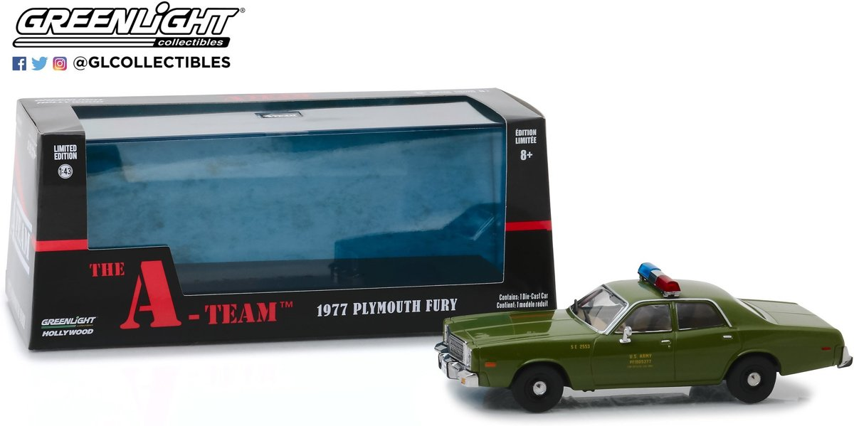 Plymouth Fury 1977  The A-Team (1983-87 TV Series) US Army Police 1/43 Greenlight Collectibles
