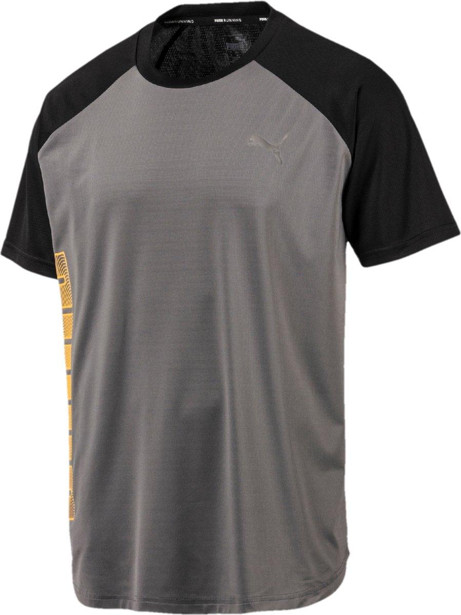 PUMA Collective Loud Tee Sportshirt Heren - CASTLEROCK-Puma Black - Maat XL