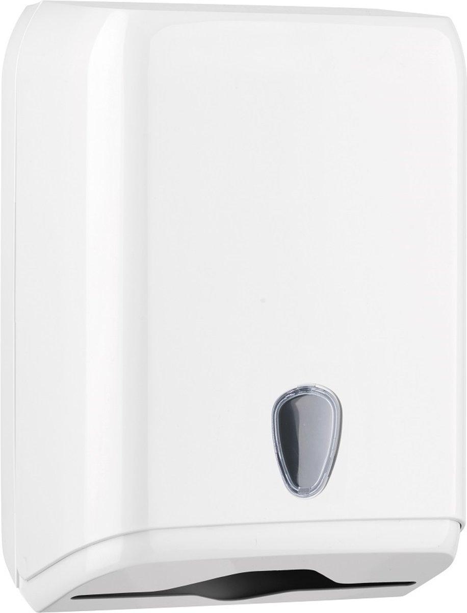 Witte dispenser voor papierhanddoeken gemaakt van kunststof MP592 kopen