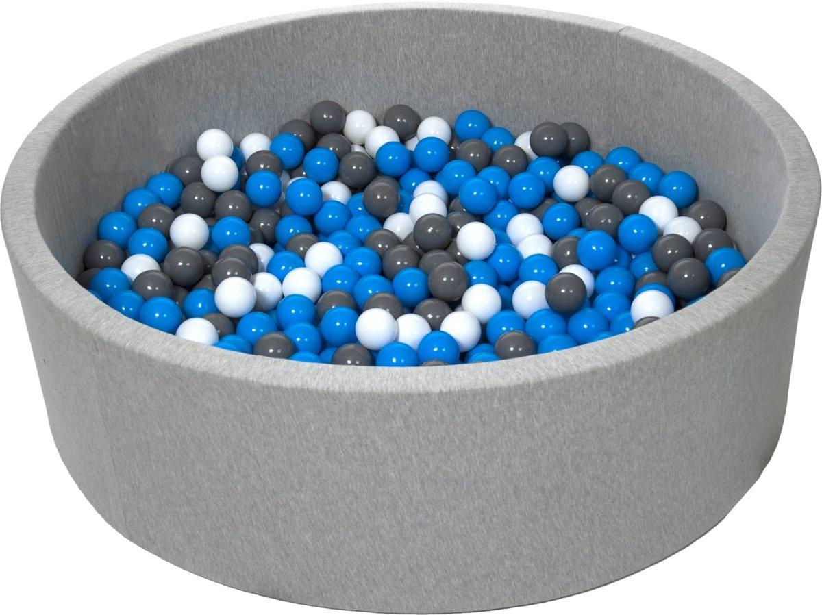 Zachte Jersey baby kinderen Ballenbak met 600 ballen, diameter 125 cm - wit, blauw, grijs
