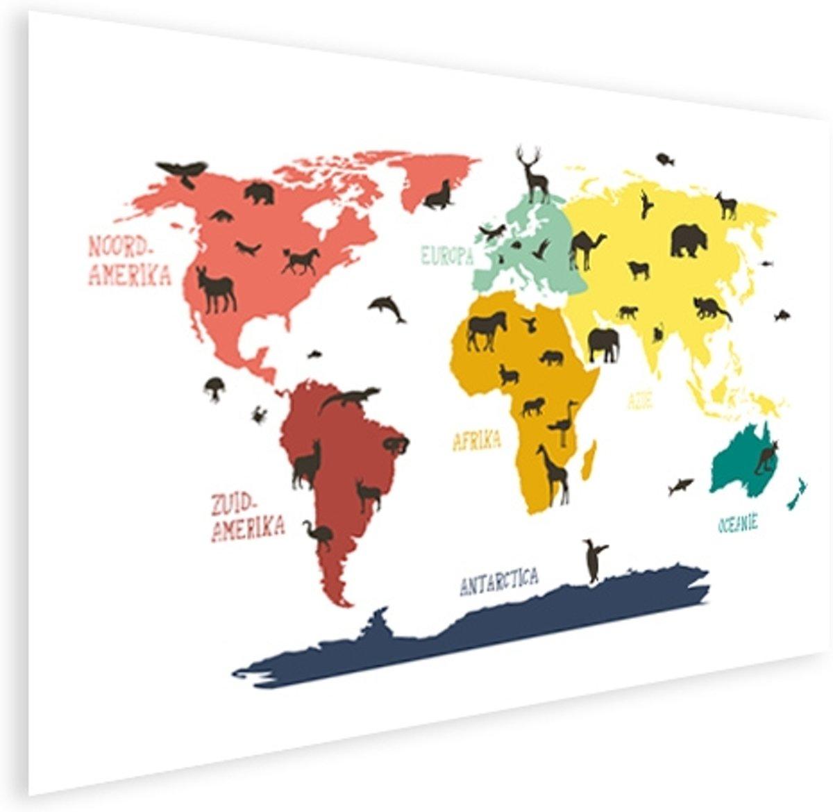 Wereldkaart voor kinderen Poster Dieren Beesten 100x50 cm - Wereldkaarten.nl kopen