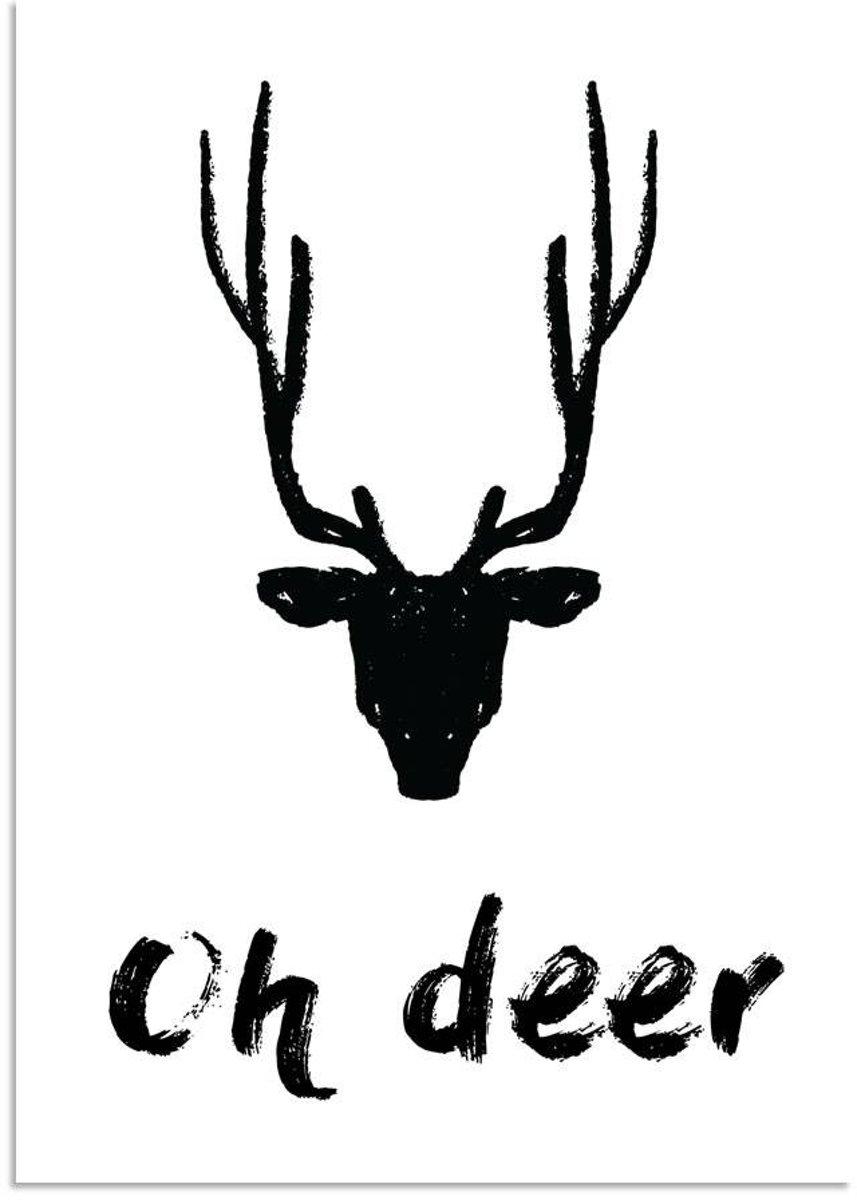 Kerst Poster Oh deer Rendier Designclaud - Zwart Wit - A2 + Fotolijst wit kopen