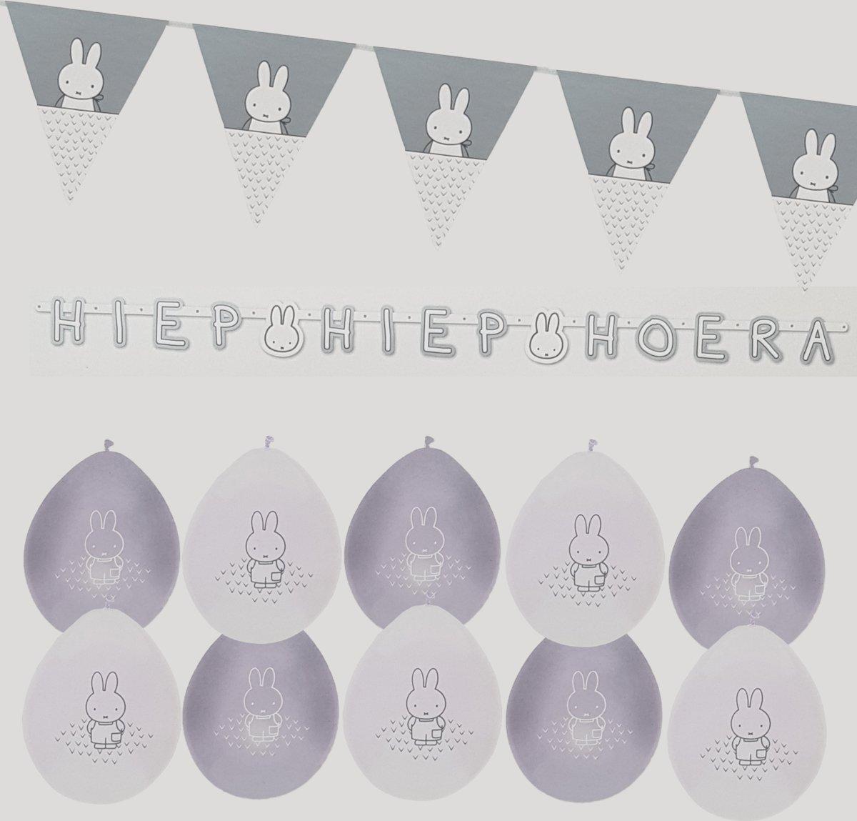 Nijntje Feestpakket Babyshower baby shower letterslinger vlaggenlijn ballonnen unisex zilver grijs jongen meisje