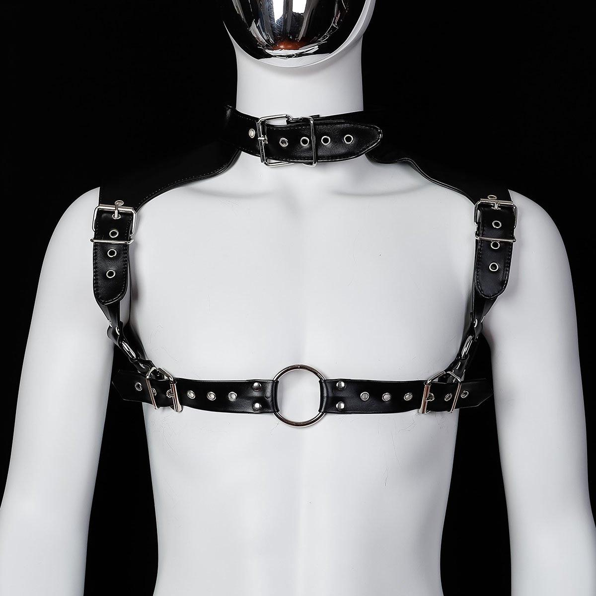 Foto van Banoch - Chest collar harness Raigel - imitatie leer harnas voor man